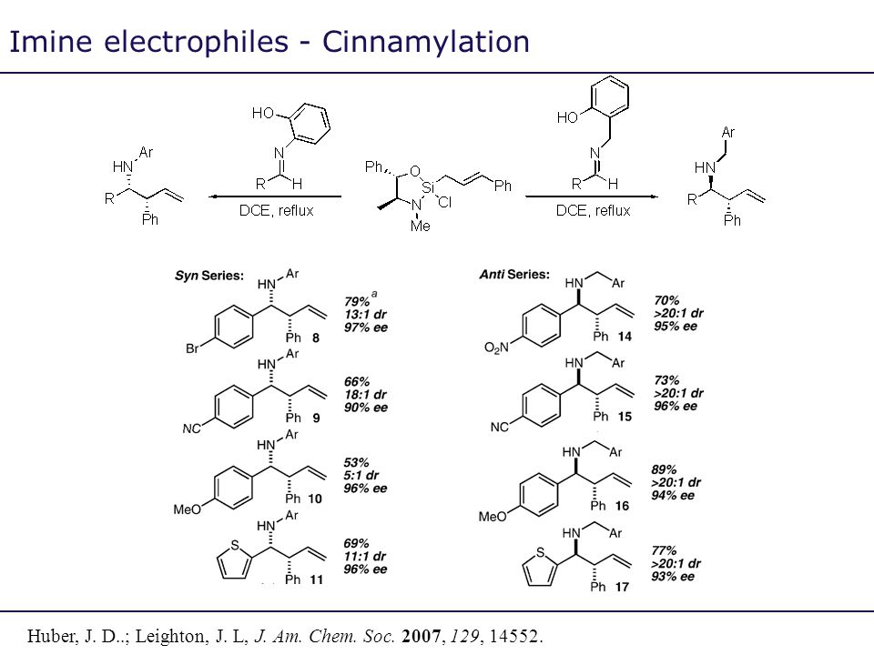 Imine electrophiles - Cinnamylation