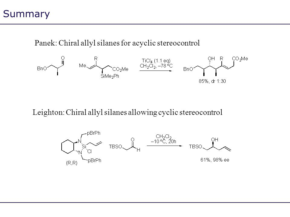 Summary Panek: Chiral allyl silanes for acyclic stereocontrol