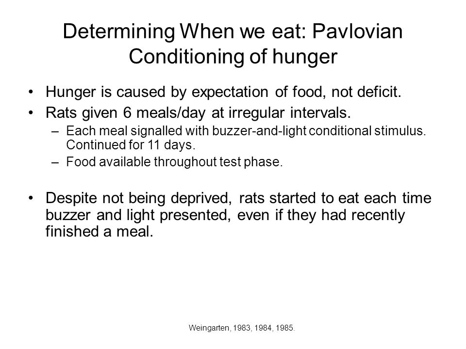 Determining When we eat: Pavlovian Conditioning of hunger