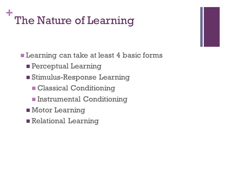 The Nature of Learning Learning can take at least 4 basic forms