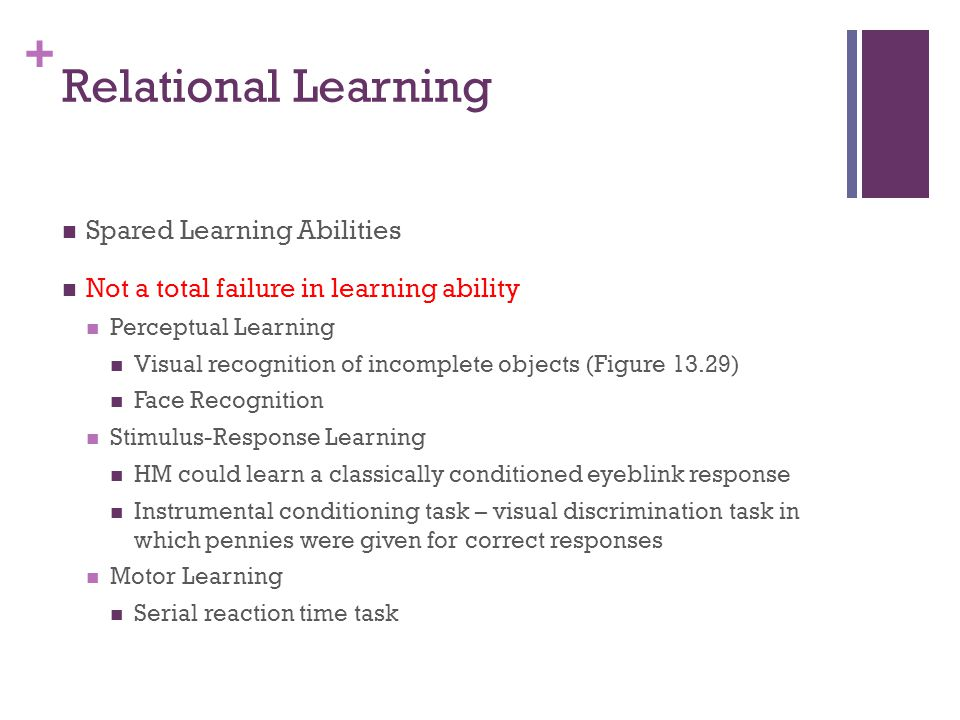 Relational Learning Spared Learning Abilities