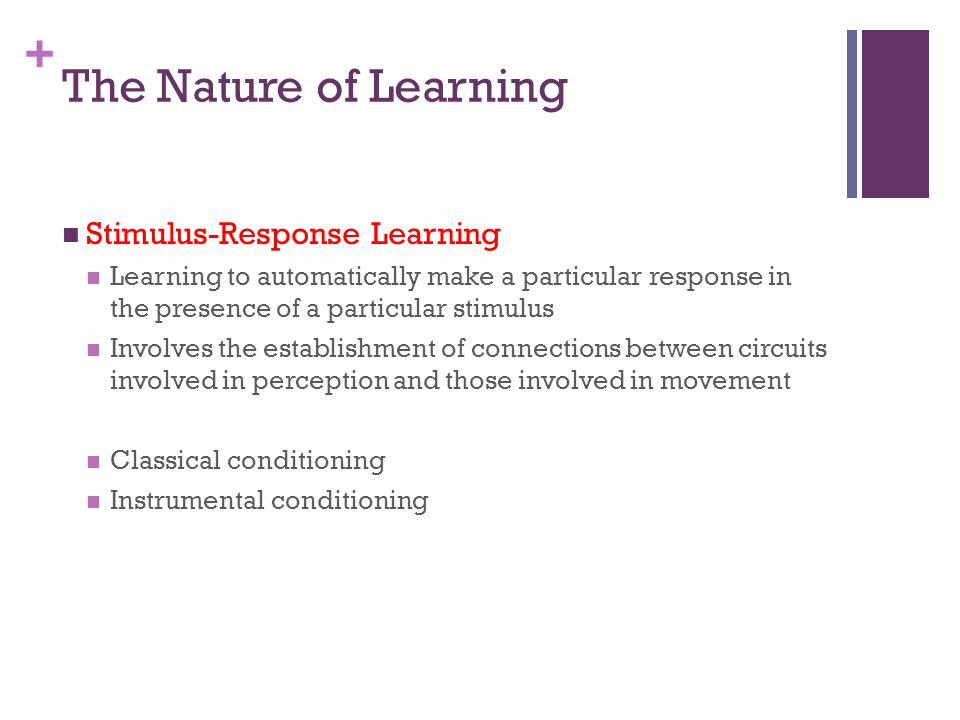 The Nature of Learning Stimulus-Response Learning