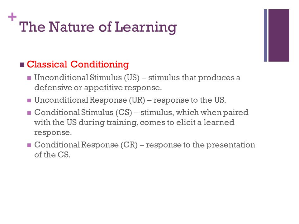 The Nature of Learning Classical Conditioning