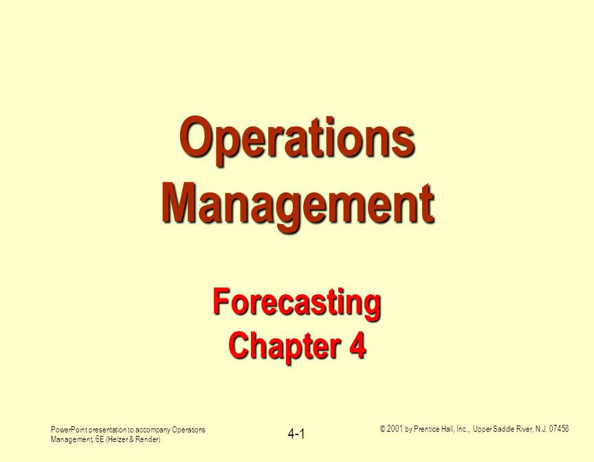 Operations Management Forecasting Chapter 4