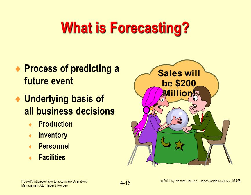 What is Forecasting Process of predicting a future event