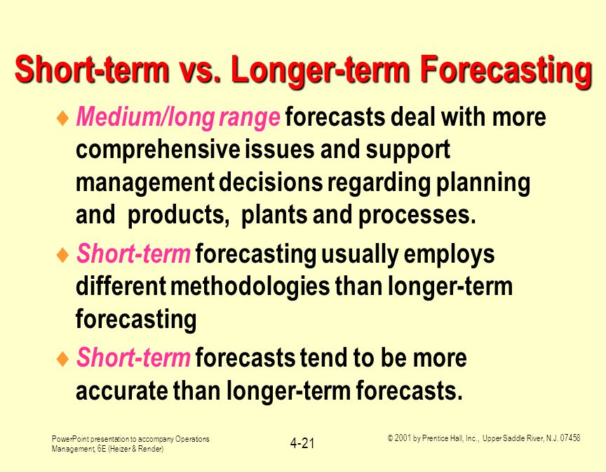 Short-term vs. Longer-term Forecasting