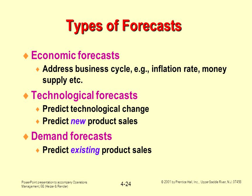 Types of Forecasts Economic forecasts Technological forecasts