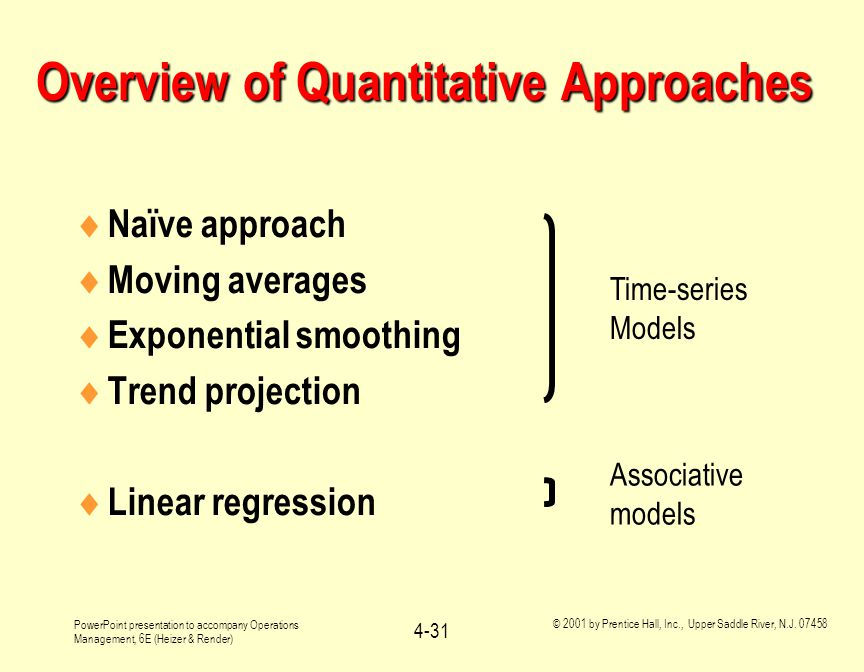 Overview of Quantitative Approaches