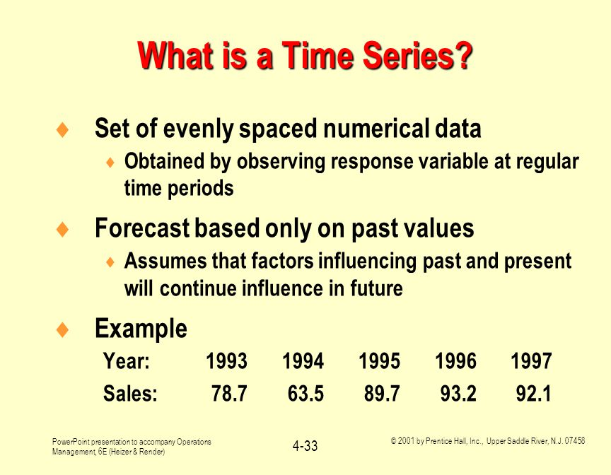 What is a Time Series Set of evenly spaced numerical data