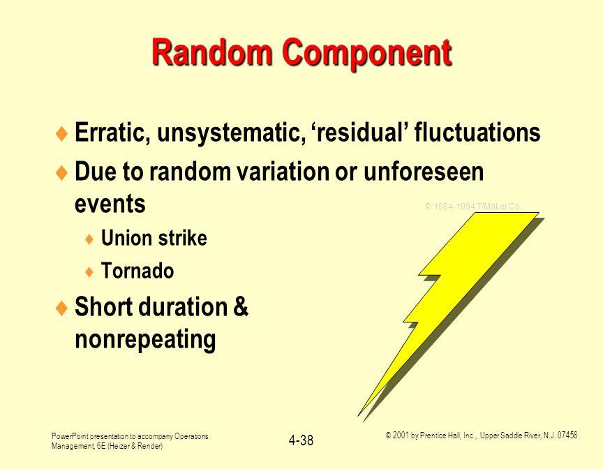 Random Component Erratic, unsystematic, 'residual' fluctuations