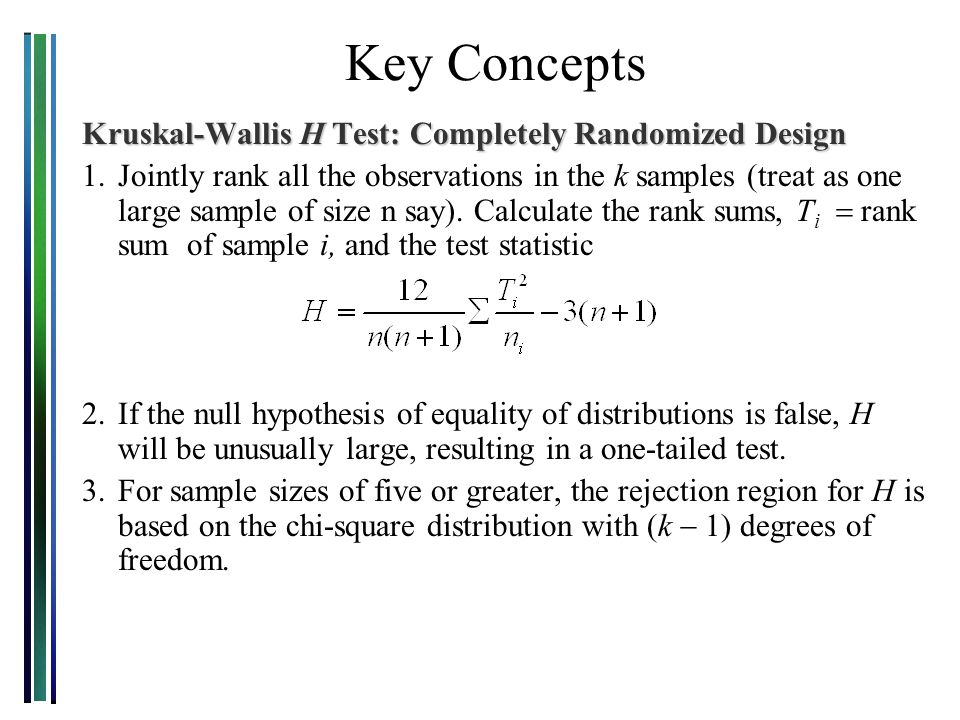 Key Concepts Kruskal-Wallis H Test: Completely Randomized Design