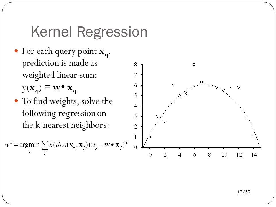 Kernel Regression For each query point xq, prediction is made as weighted linear sum: y(xq) = w xq.