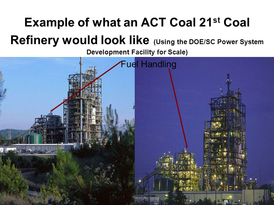 Example of what an ACT Coal 21st Coal Refinery would look like (Using the DOE/SC Power System Development Facility for Scale)