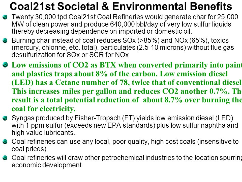 Coal21st Societal & Environmental Benefits
