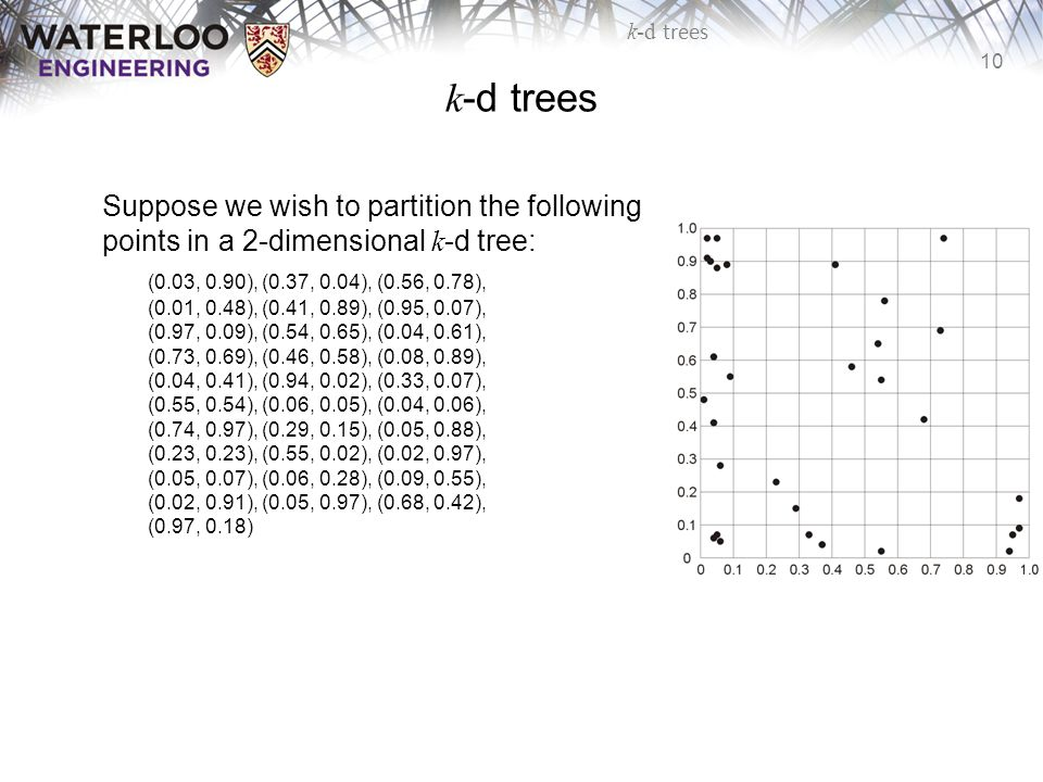 k-d trees Suppose we wish to partition the following points in a 2-dimensional k-d tree: