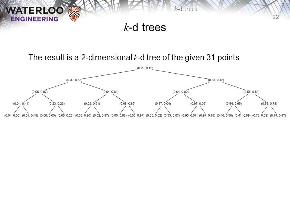 k-d trees The result is a 2-dimensional k-d tree of the given 31 points