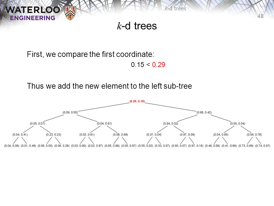 k-d trees First, we compare the first coordinate: