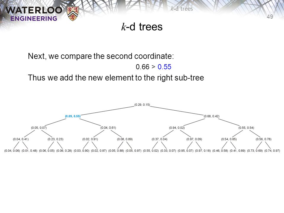 k-d trees Next, we compare the second coordinate: