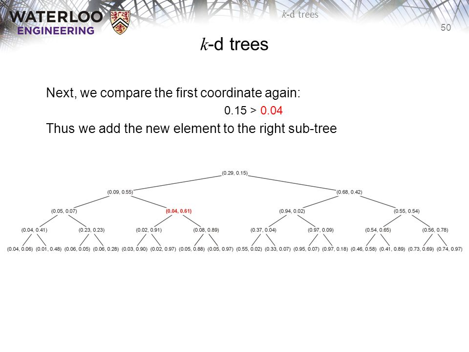 k-d trees Next, we compare the first coordinate again: