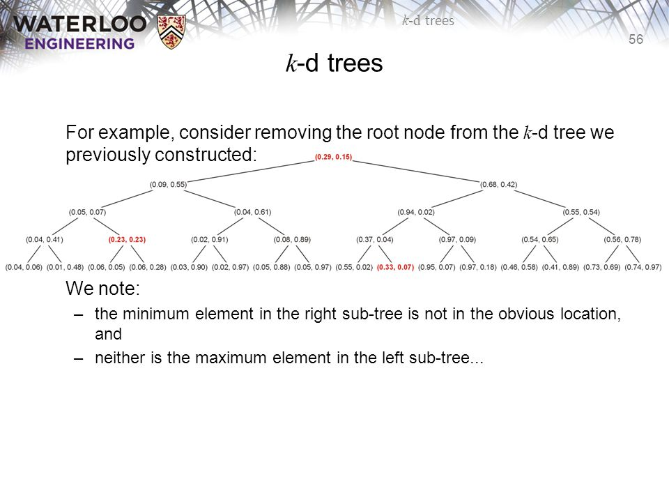 k-d trees For example, consider removing the root node from the k-d tree we previously constructed: