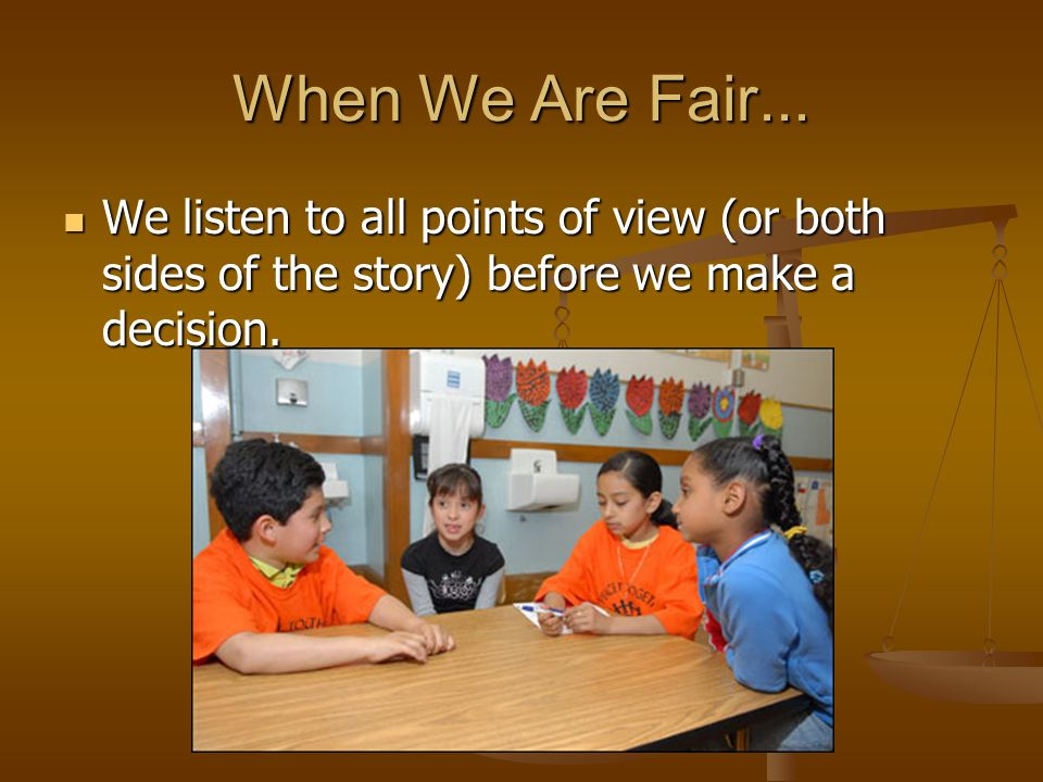 When We Are Fair...