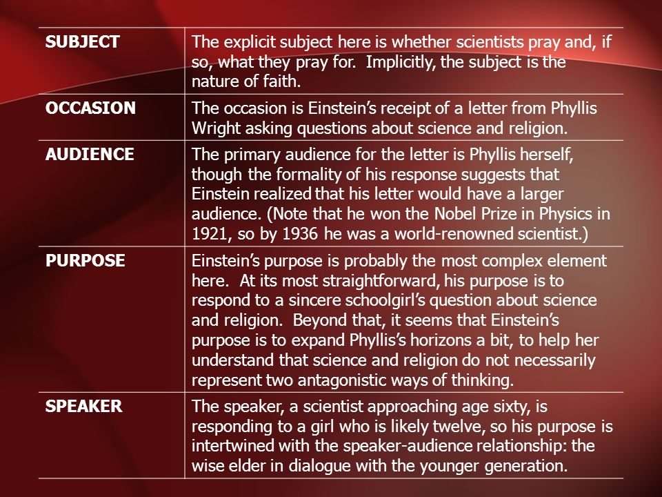 SUBJECT The explicit subject here is whether scientists pray and, if so, what they pray for. Implicitly, the subject is the nature of faith.