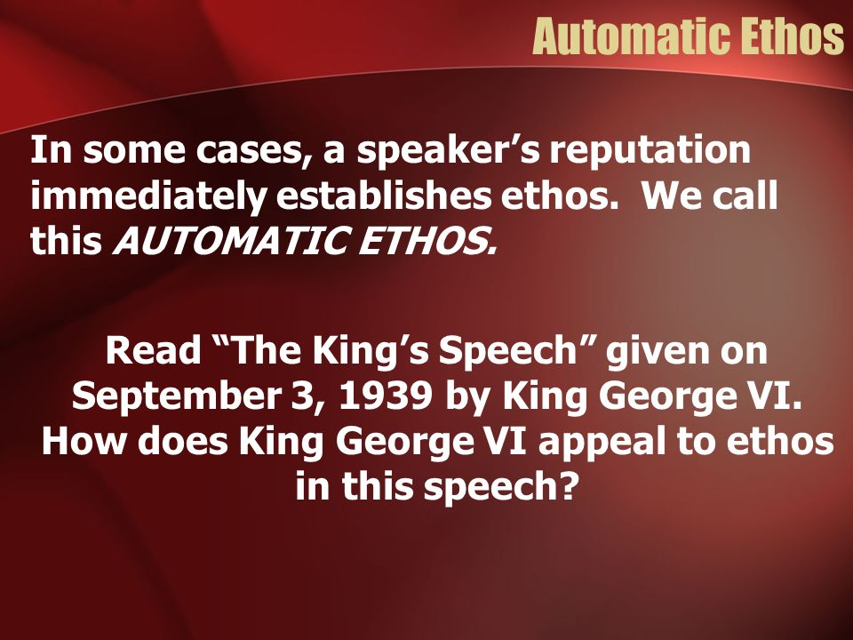 Automatic Ethos