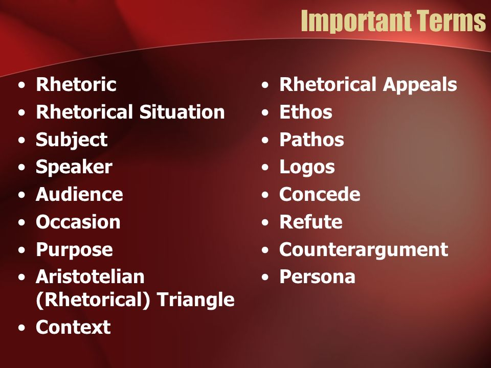 Important Terms Rhetoric Rhetorical Situation Subject Speaker Audience