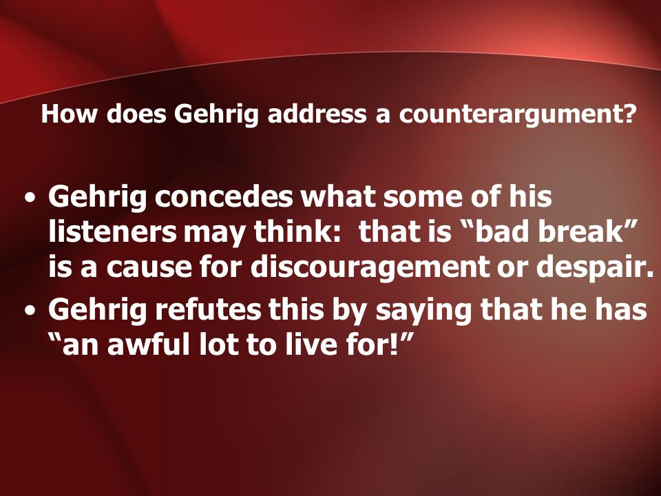 How does Gehrig address a counterargument