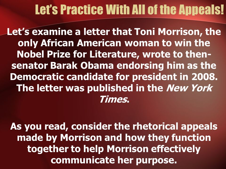 Let's Practice With All of the Appeals!
