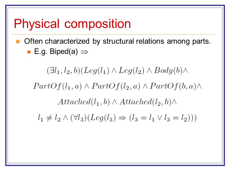 Physical composition Often characterized by structural relations among parts. E.g. Biped(a) 