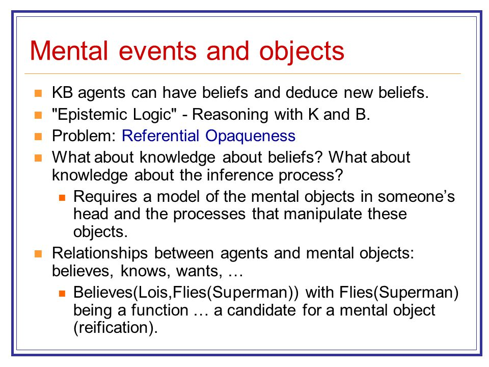 Mental events and objects