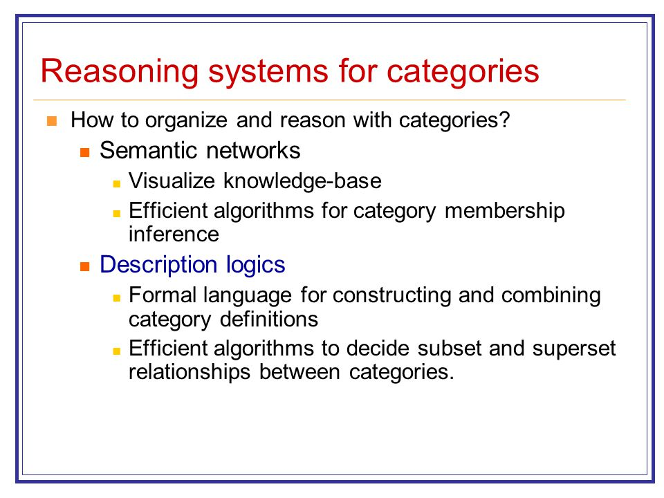 Reasoning systems for categories