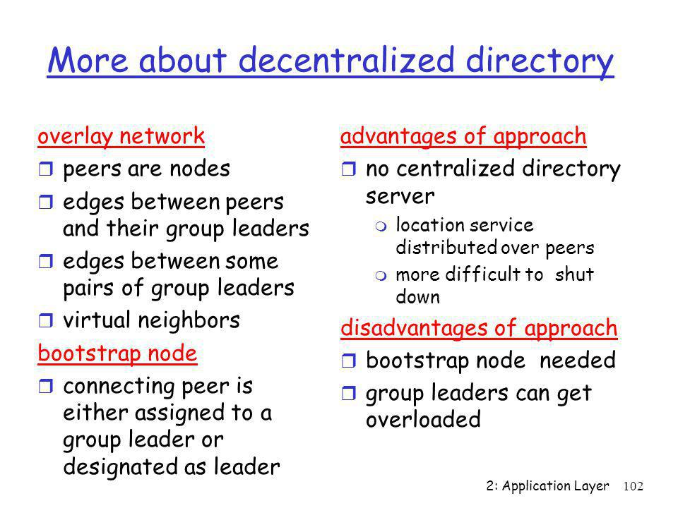 More about decentralized directory