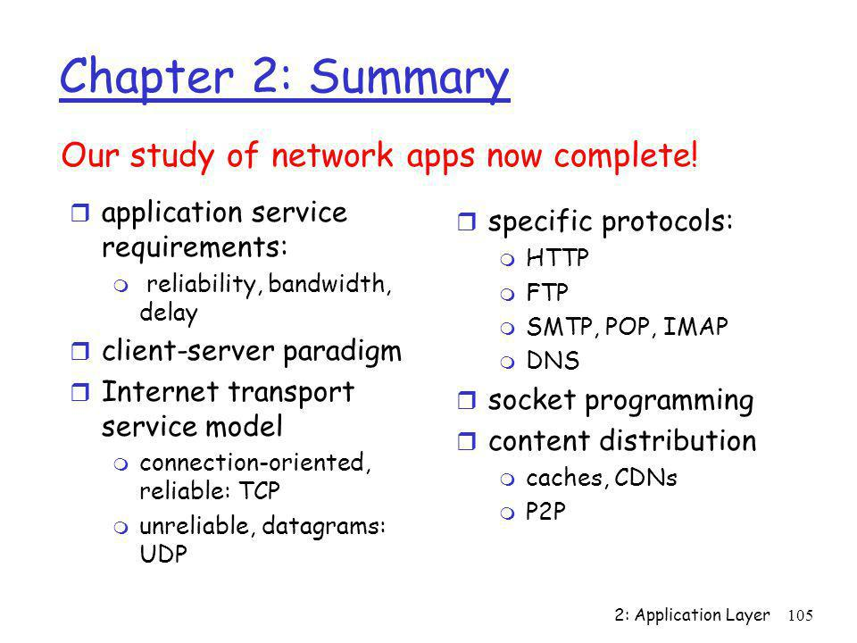 Chapter 2: Summary Our study of network apps now complete!
