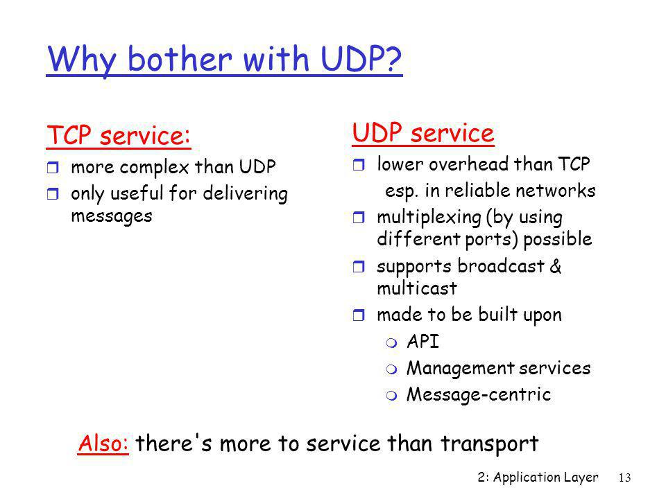 Why bother with UDP UDP service TCP service: