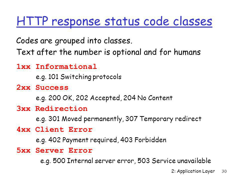 HTTP response status code classes