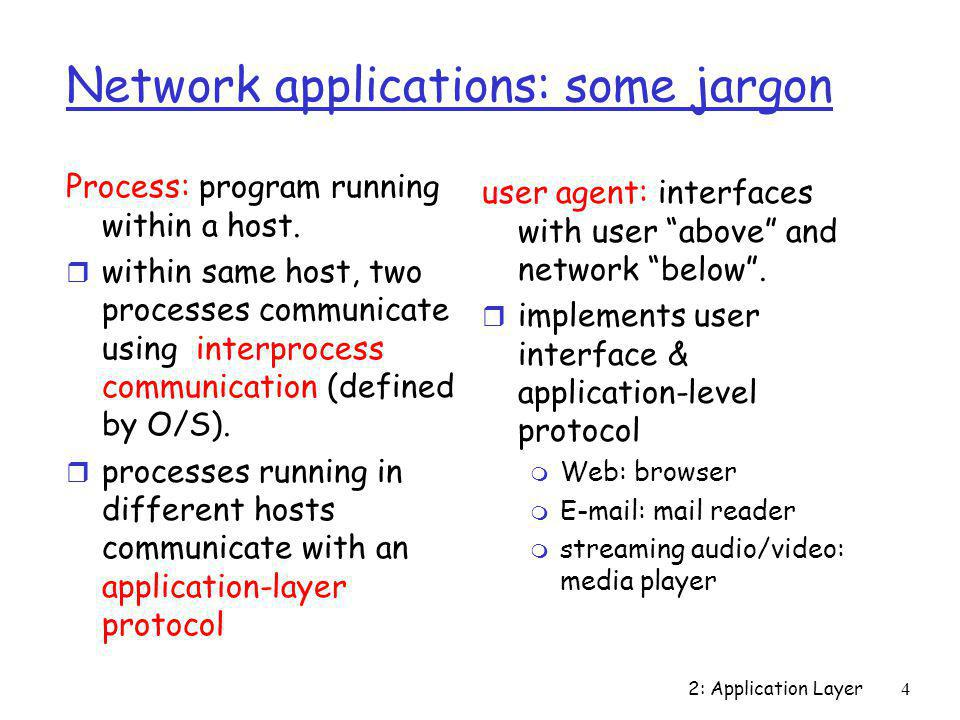 Network applications: some jargon