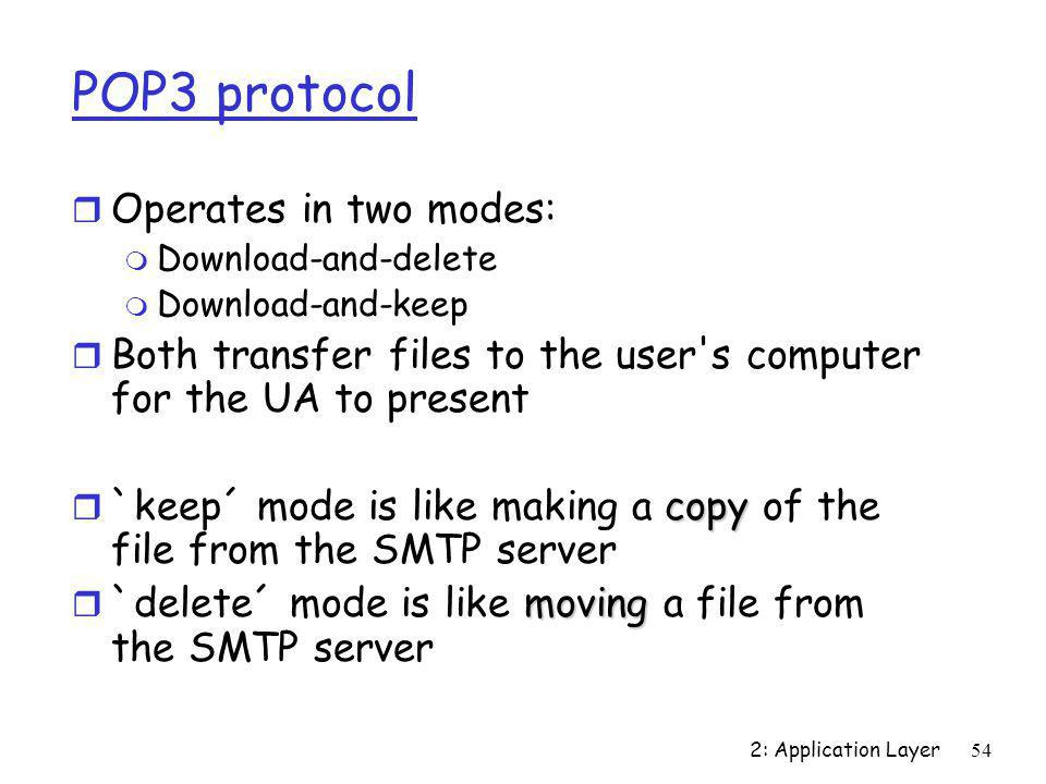 POP3 protocol Operates in two modes: