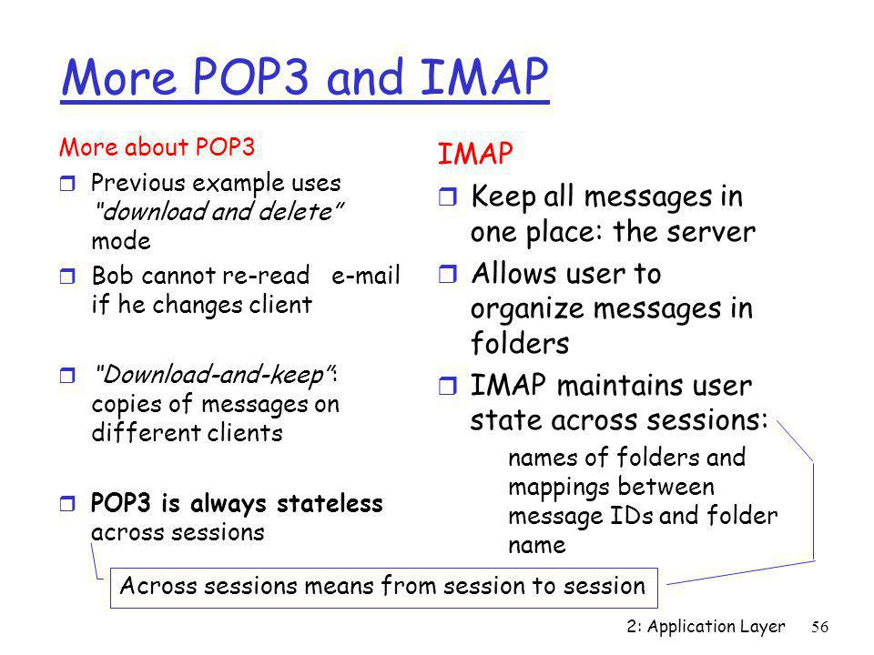 More POP3 and IMAP IMAP Keep all messages in one place: the server