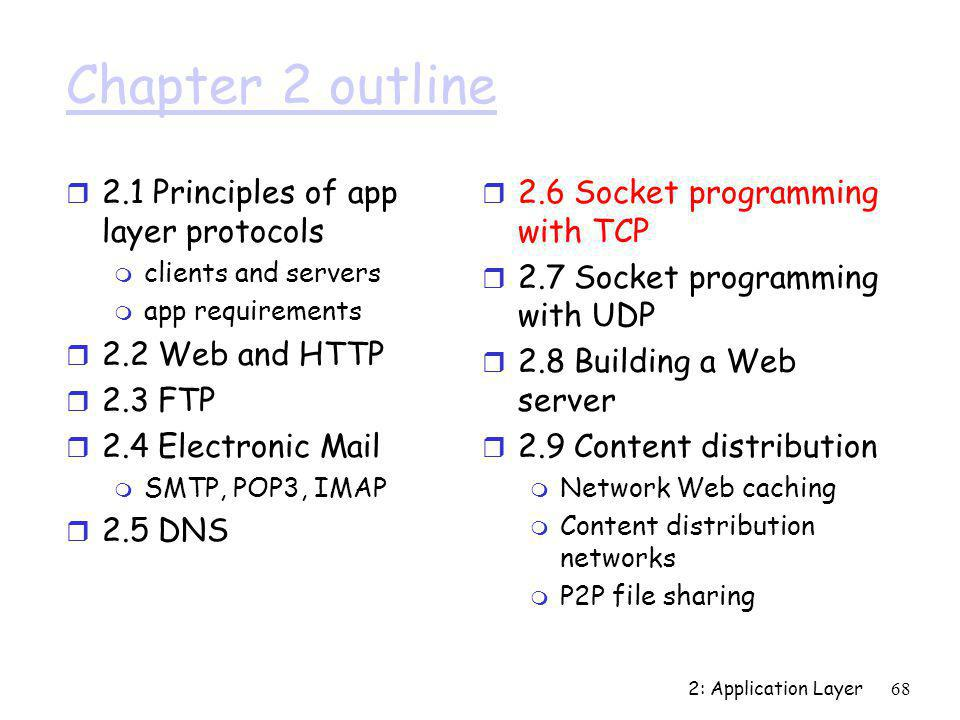 Chapter 2 outline 2.1 Principles of app layer protocols