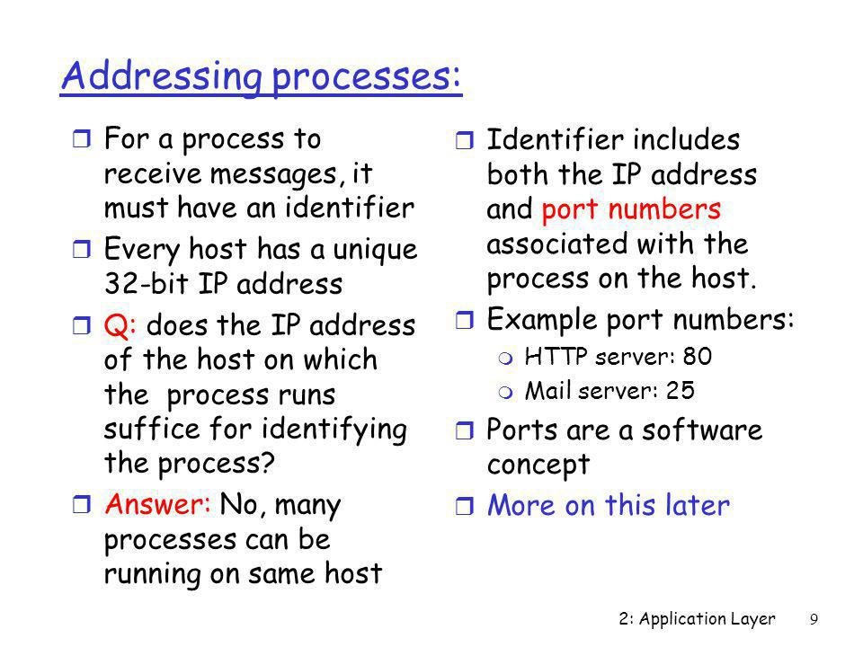 Addressing processes: