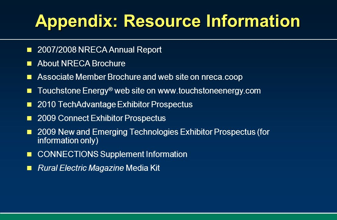 Appendix: Resource Information