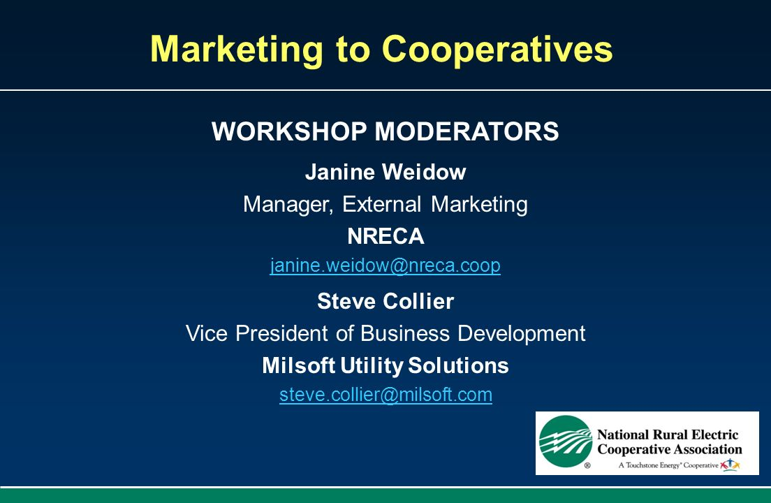 Marketing to Cooperatives Milsoft Utility Solutions