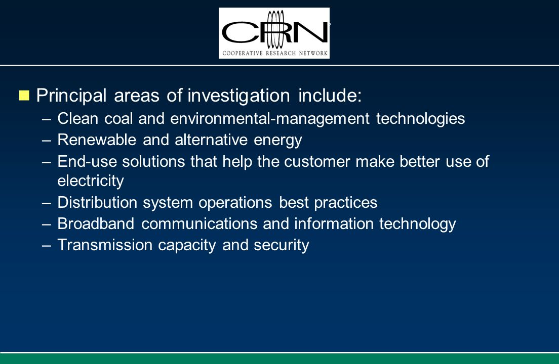 Principal areas of investigation include: