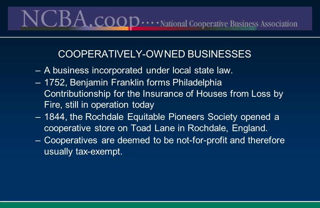 COOPERATIVELY-OWNED BUSINESSES