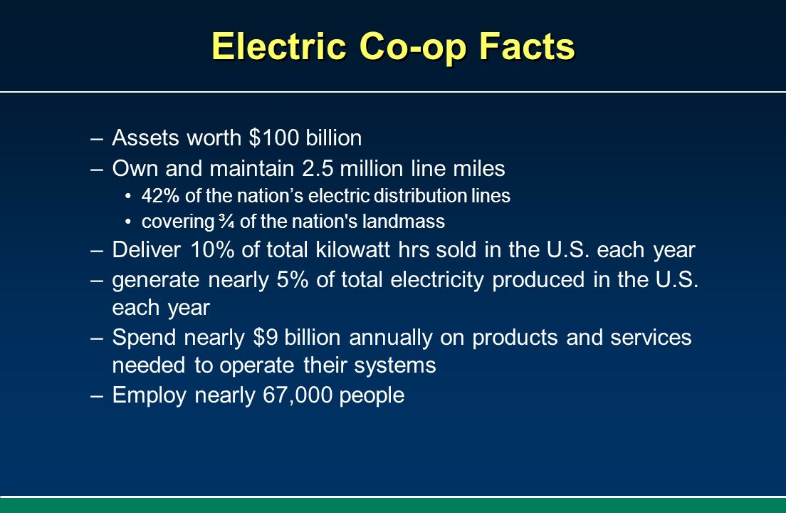 Electric Co-op Facts Assets worth $100 billion