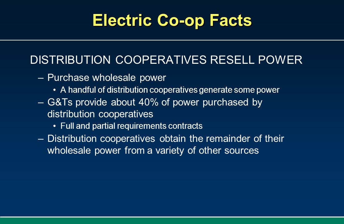 DISTRIBUTION COOPERATIVES RESELL POWER