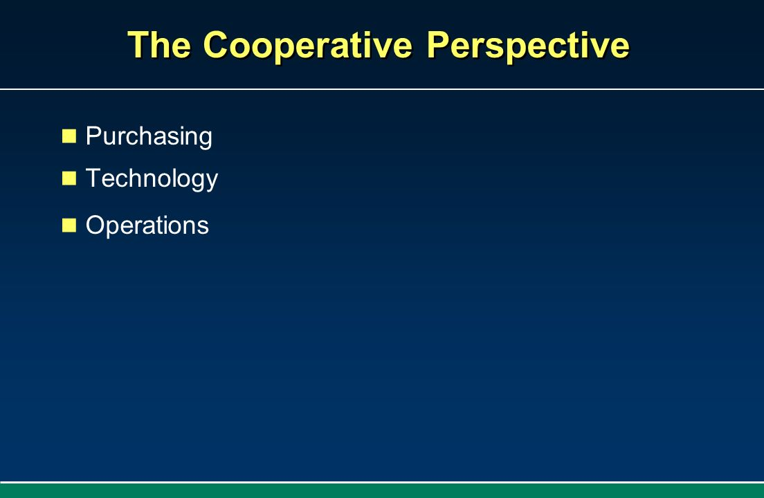 The Cooperative Perspective