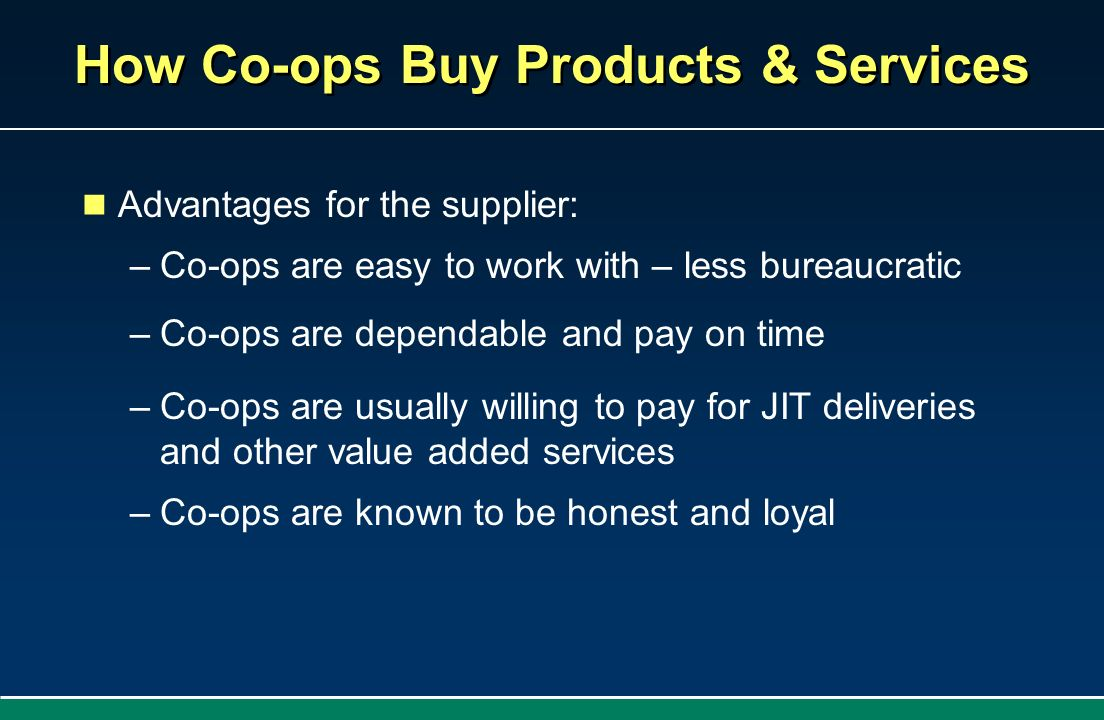 How Co-ops Buy Products & Services